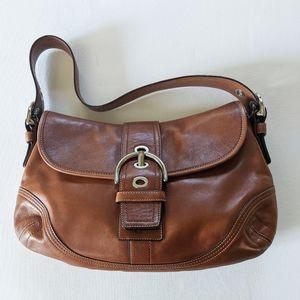 COACH Brown Leather SOHO Hobo Flap Shoulder Bag